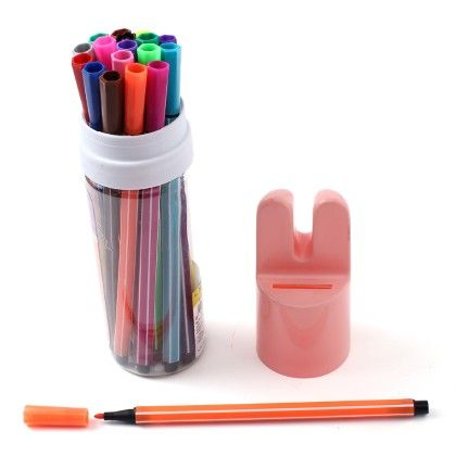 Bunny Case - Set Of 18 Coloured Pens  - Peach - Happy Gifts