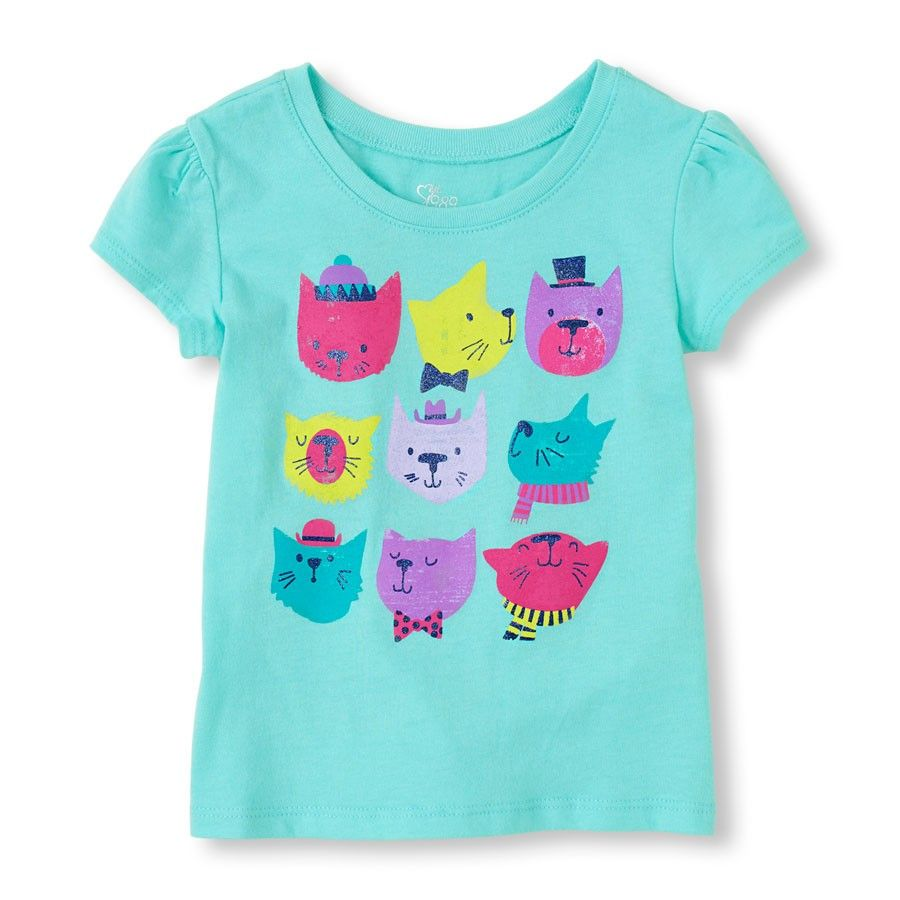 Short Sleeve Nine Fancy Cats Graphic Tee - The Children's Place