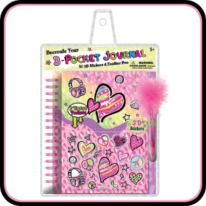 Decorate Your 3-pocket Journal - 3d Stickers And Feather Pen, Fashion Heart - Hot Focus Toys