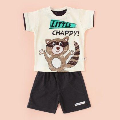 Little Chappy Printed Half Sleeves Pyjama Set - Grey - Mini Taurus