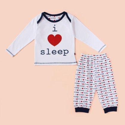 I Love Sleep Full Sleeves  Pyjama Set - Navy - Mini Taurus