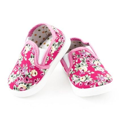 Floral Printed Canvas Slip Ons  -pink - S&S