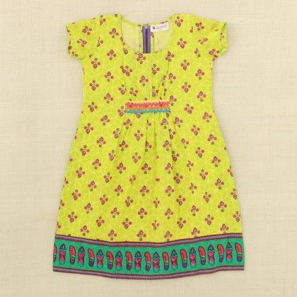 Green Dress With Chappal Print - Punkster