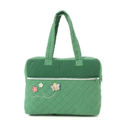 Oyster Kids Hand Bag In Green With Butterfly On It - Oysterkids