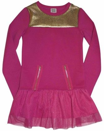 Fleece Sweatshirt Dress With Tulle Hangdown, Yoke Piecing Pink - Dedo Kids