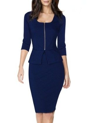 square Neck Busniess Peplum Fitted Casual Bodycon Dress-navy - Miusol