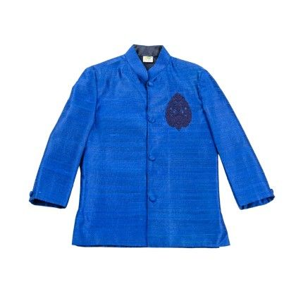 Electric Blue Prince Coat With Deep Blue Embroidered Motif - Little Stars