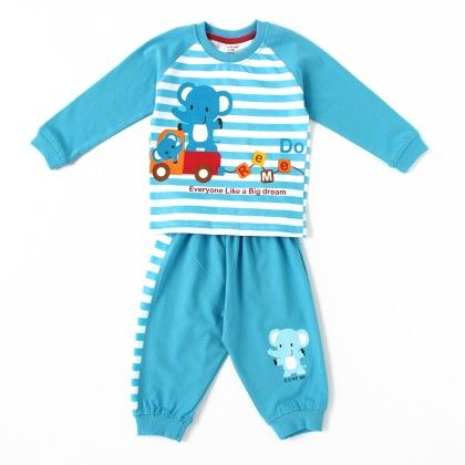 Full Suit Stripes With Elephant Print - Blue - Do Re Me