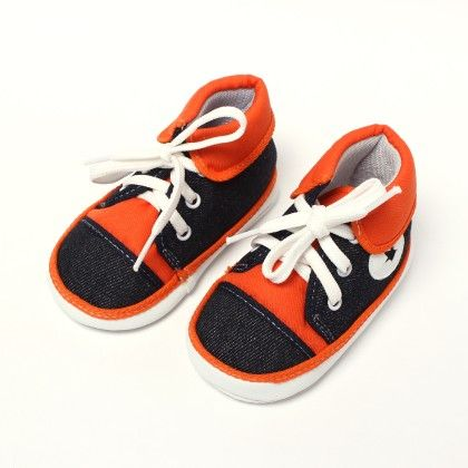 All Star Baby Sneakers - Black And Orange - Baby Shoes