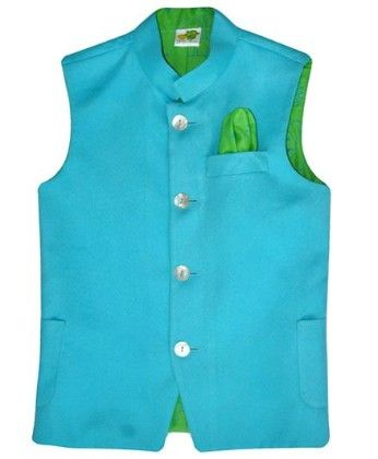 Sky Blue Suede Jacket With Lime Green Printed Lining And Printed Pocket Square - Little Stars