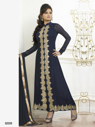 Touch Trends Navy Blue Georgette Dress Material - Touch Trends Ethnic