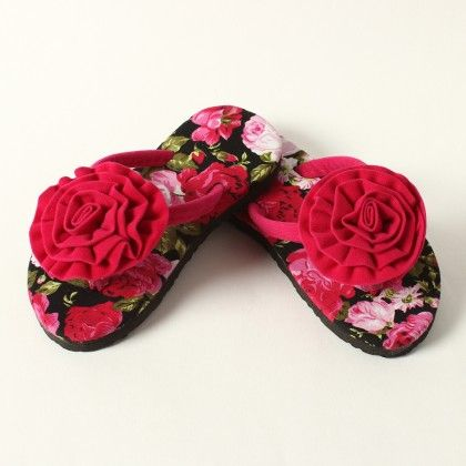 Floral Sole With Floral Pom Pom Slip Ons -fuchsia - Lek Cotton
