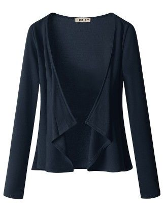 Draping Long Sleeve Jersey Open Cardigan Navy - Doublju