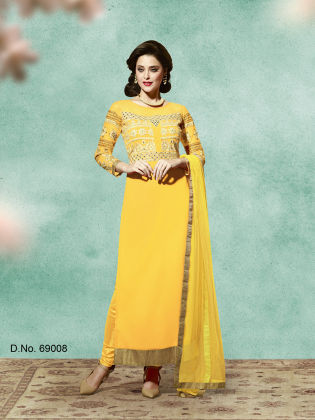 Touch Trends Yellow Georgette Dress Material - Touch Trends Ethnic
