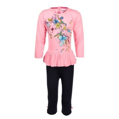 Pepito Girls Tunic Set - Pink & Black