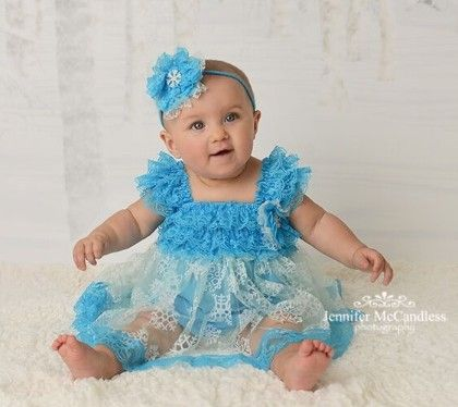 Snowflakes Chiffon Dress- Blue - Cutie Baby Boutique