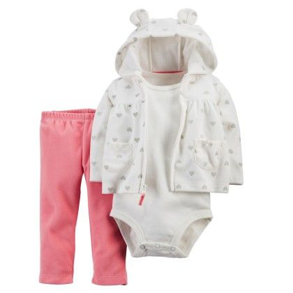 3-piece Cardigan Set - White And Pink - Carter's