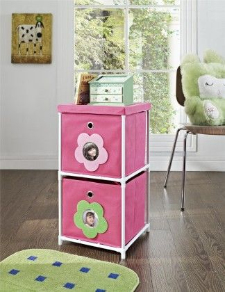 Kids' 2-bin Storage Unit, Pink With Flower Theme - Altra Furniture
