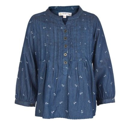 Blue Denim Anchor Print Shirt - My Lil'Berry