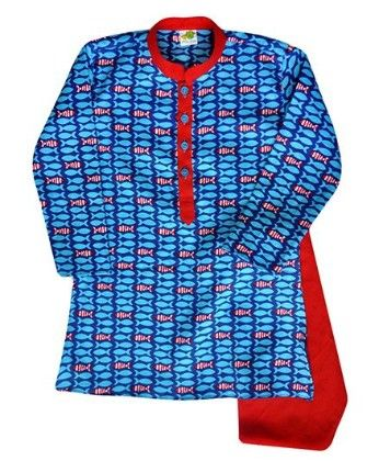 Printed Fish In Blue And Red With Red  Detail And Red Churidar - Little Stars