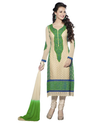 Touch Trends Green Pure Georgette Dress Material - Touch Trends Ethnic