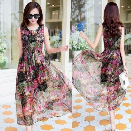 Women's Floral Print Dress- Multi - Glaze