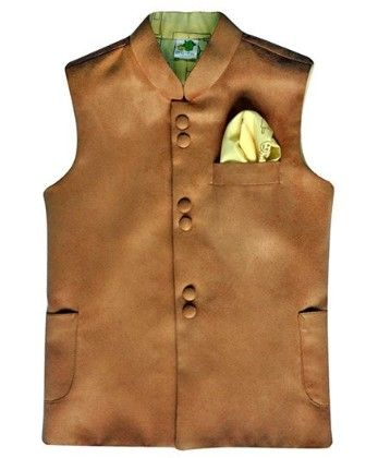 Light Brown Suede Jacket With Deep Cream Printed Lining And Printed Pocket Square - Little Stars