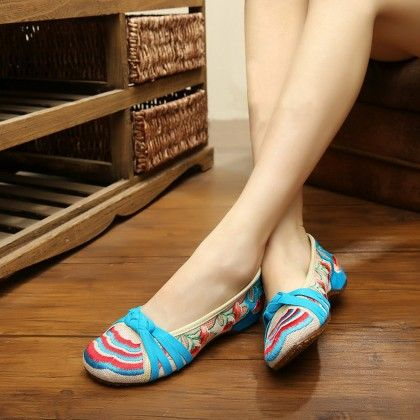 Blue Floral Print Shoes - Touch-up