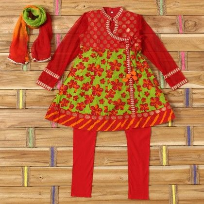 Green Flower Printed Angrkha Red Chanderi Yock Suit Red Silk Churidar - Exclusive From Jaipur