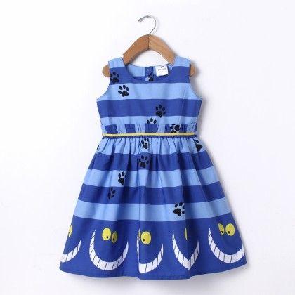 Dress Sleeve Less Stripe Border Print Blue - Doodle