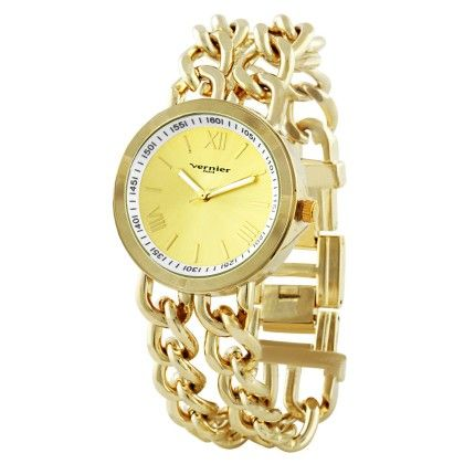 Vernier Paris Women's Gold-tone Double Box Chain Link Watch - Vernier Watches