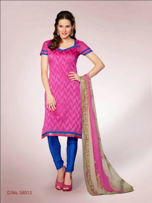 Touch Trends Pink Chanderi Dress Material - Touch Trends Ethnic - 164964
