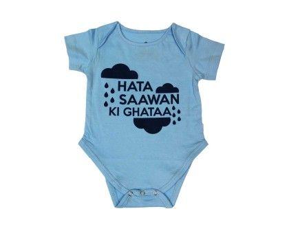 Saawan Ki Ghata Printed Baby Bodysuit - Blue Bus Store