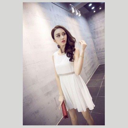 Women's Short Party Dress- White - Glaze