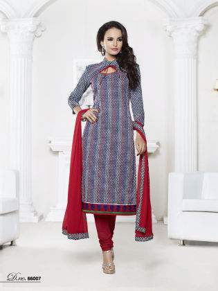 Touch Trends Multi Chanderi Cotton Dress Material - Touch Trends Ethnic