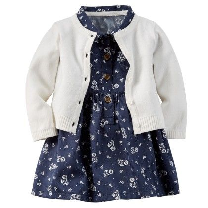 2-piece Sateen Shirt Dress & Sweater Set - Navy And White - Carter's