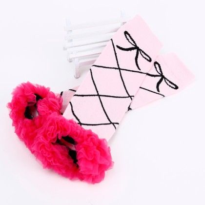 Bow Print Ruffled Lace Legwarmer- Pink And Rose Red - Tootsies