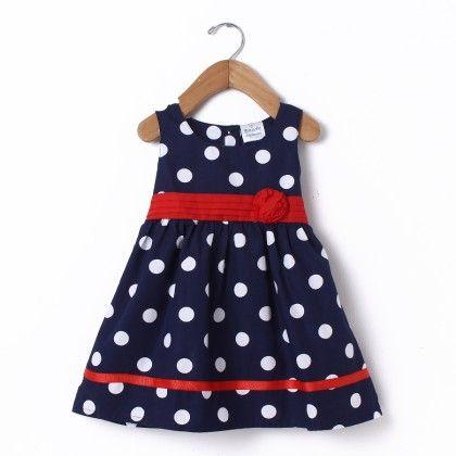 Dress Sleeve Less Navy Polka - Doodle