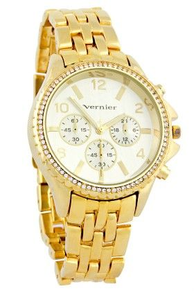 Vernier Women's Faux-chrono 5 Link Gold-tone Bracelet Watch - Vernier Watches