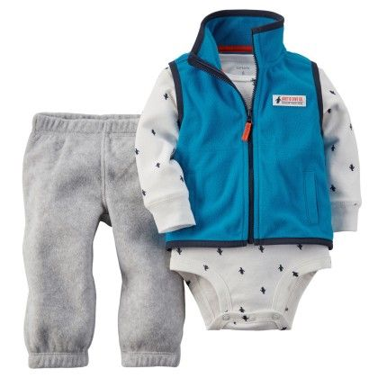 3-piece Vest Set - Grey And Blue - Carter's