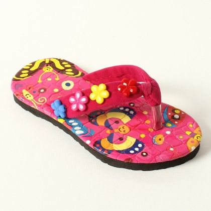 Printed Sole 3 Flowers On Side Slip Ons - Lek Cotton