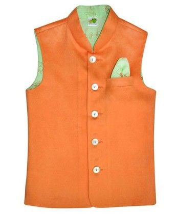 Orange Suede Jacket With Mint Green Printed Lining And Printed Pocket Square - Little Stars