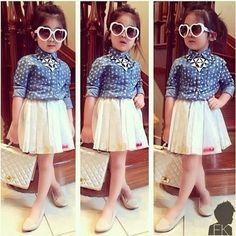 Denim Blue Polka Dot Shirt And White Pleated Skirt- Set - Little Fashionista
