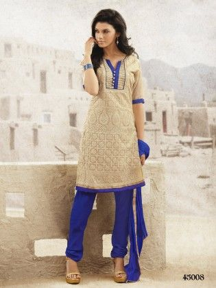 Touch Trends Beige Chanderi Dress Material - Touch Trends Ethnic