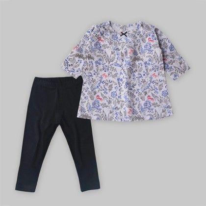 2-piece Floral Top & Black Leggings Set - A.T.U.N