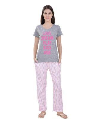 Grey Melange Top With Star Print Full Pyjama Set - Sheer Love