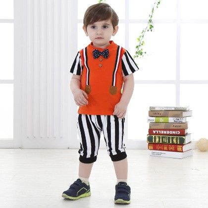Boys T-shirt With Bow And Shorts- Orange - Dapper Dudes