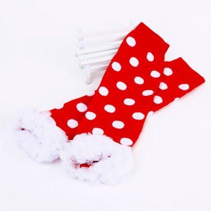 Polka Dot Print Ruffled Lace Legwarmer- Red And White - Tootsies