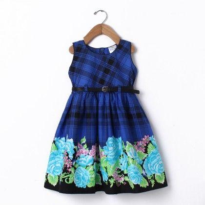 Dress Sleeve Less Scottish Checks With Belt - Blue - Doodle
