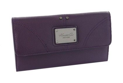 New York Women Genuine Leather Designer Wallet (grey Lining) Dark Purple W/ Grey Interior - Kenneth & Cole
